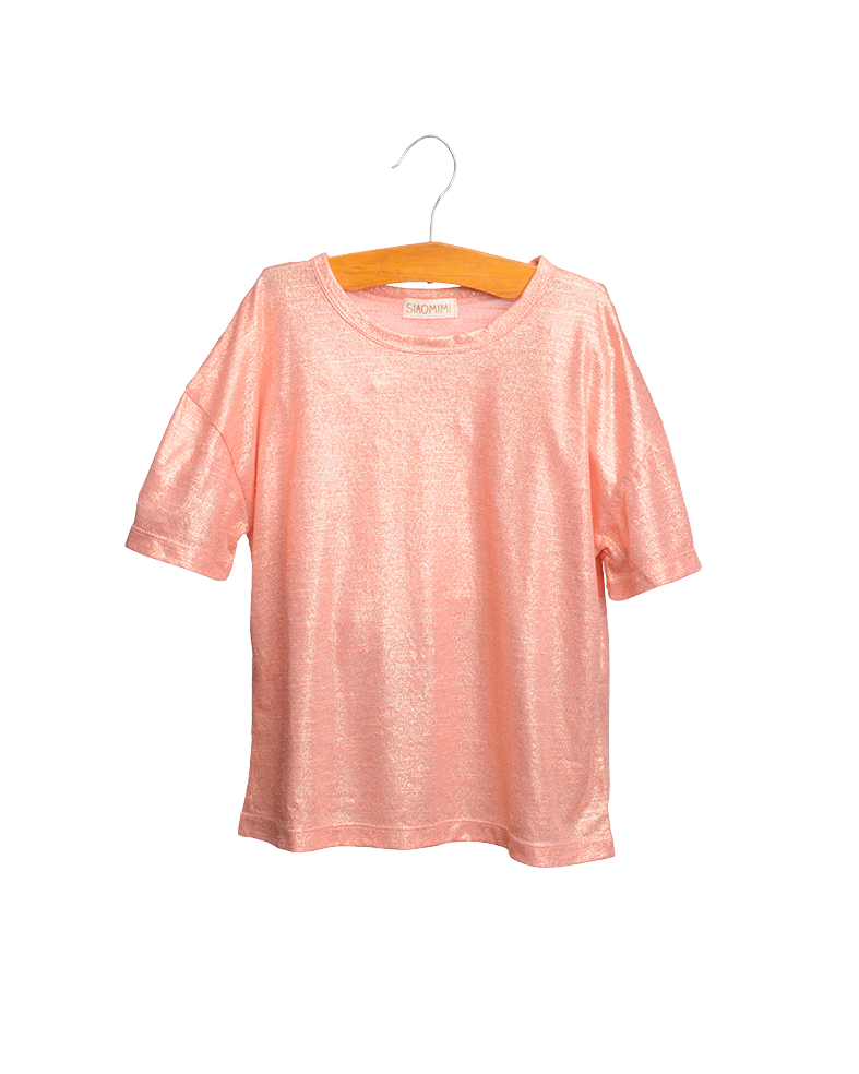 Peach Glitter Tee & Cream Fox Skirt