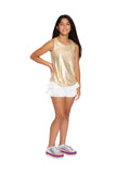 Metallic Shirtail Tank & Double Ruffle Shorts