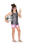Oil Slick Shirtail Tank & Meatallic Shorts