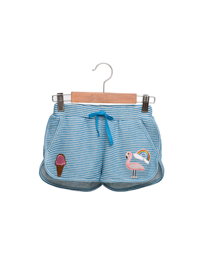 Pink Flamingo Sailor Top & Aqua Stripe Gym Short