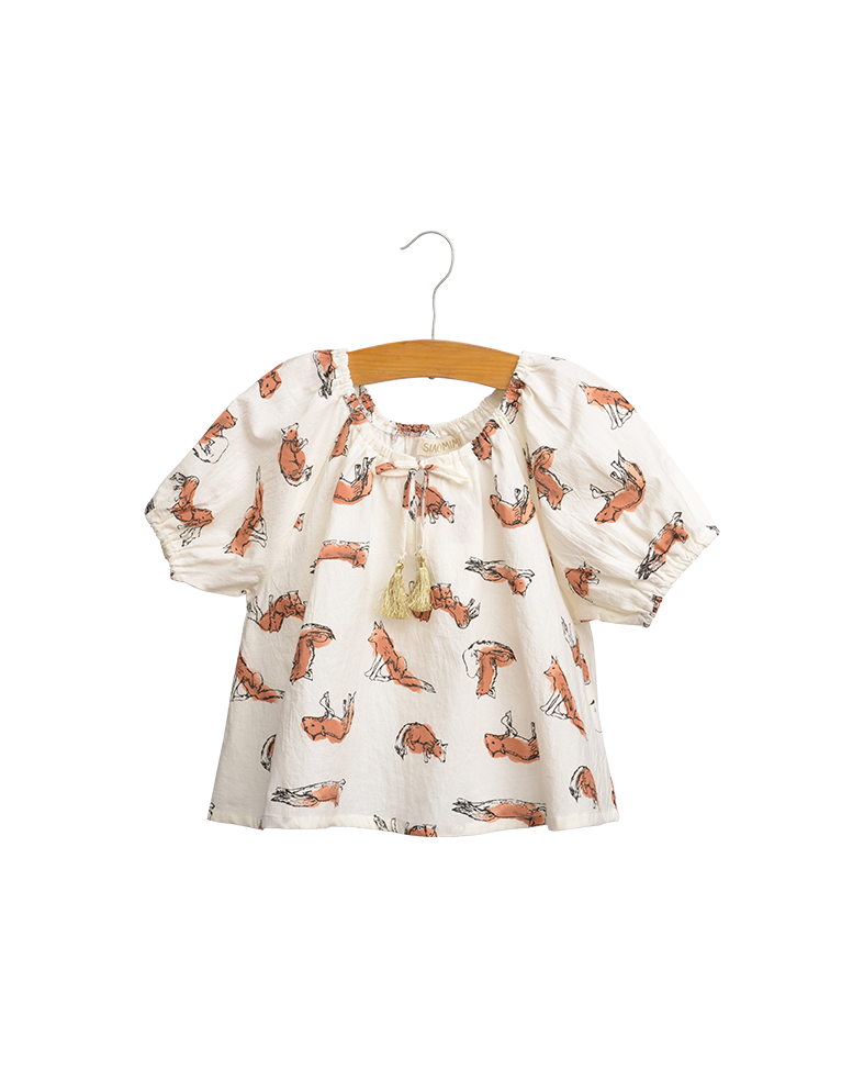 Cream Fox Peasant Top & Peach Glitter Leggings