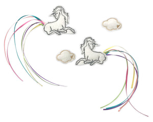 White Unicorn & Cloud Clips