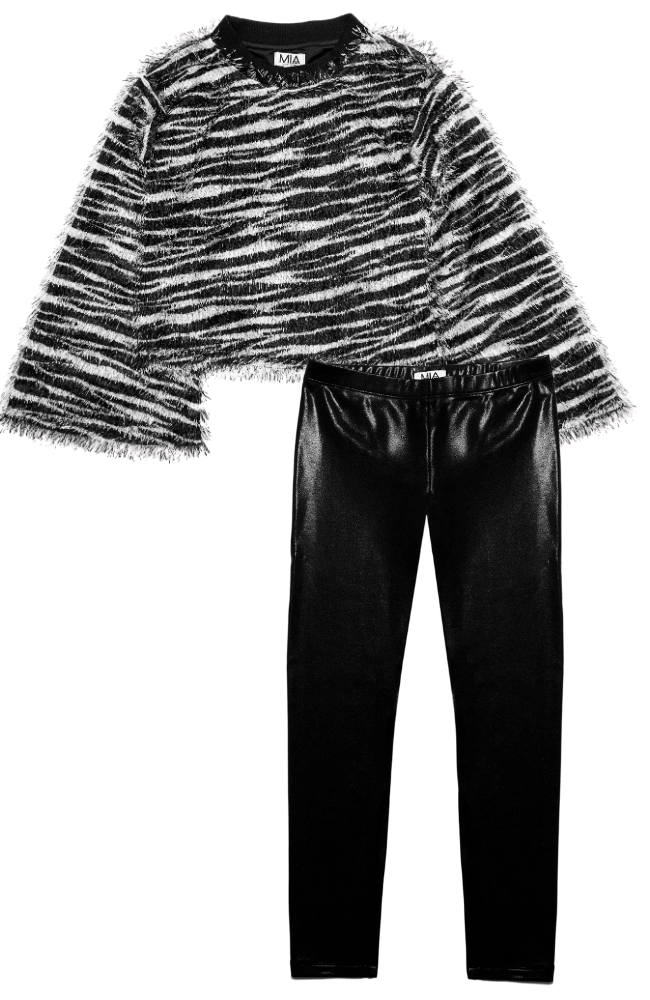 Zebra Fringe Top & Metallic Leggings