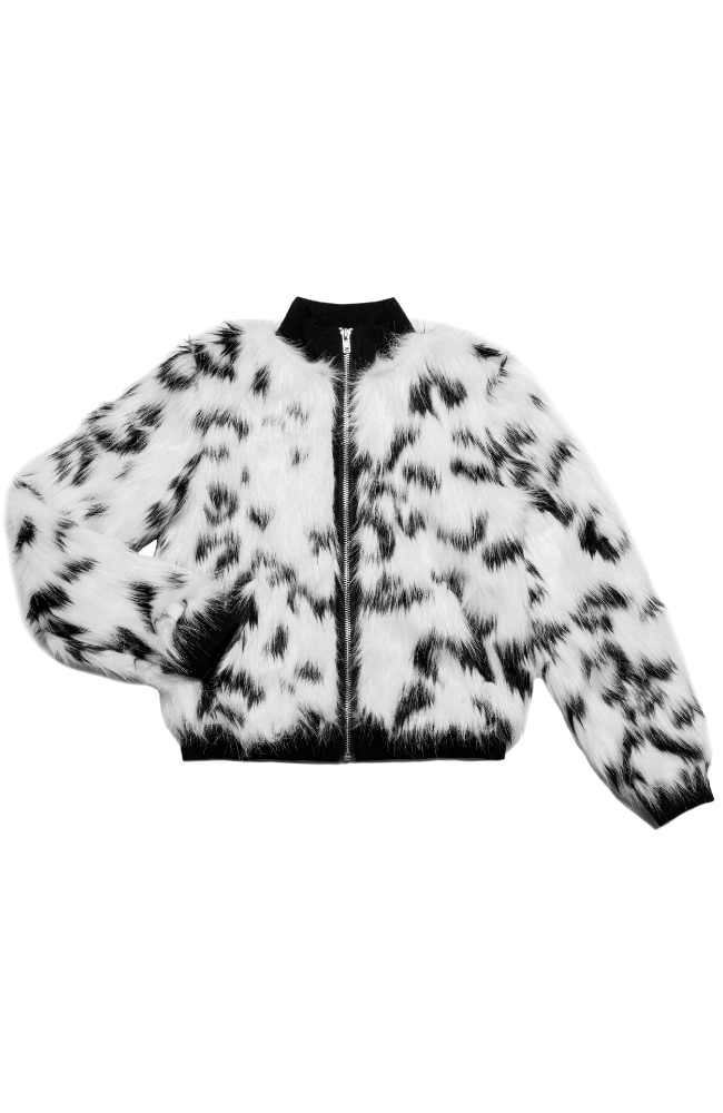 Snow Leopard Faux Fur Jacket