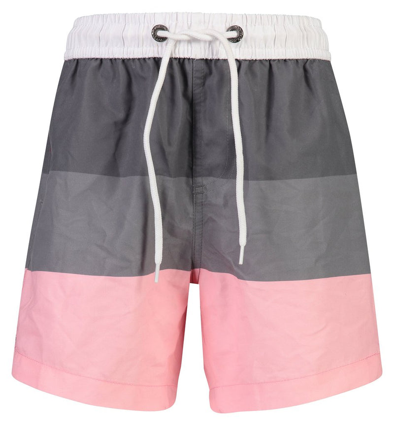 Grey Pink Block Stripe Boardie & Rashguard