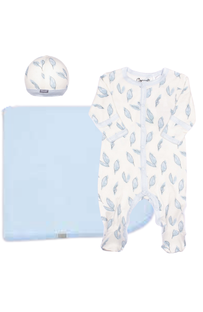 Blue Leaves Layette Set