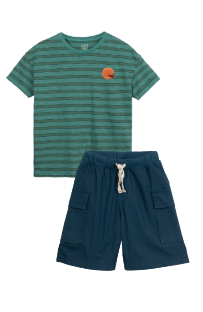 Striped Tee & Cargo Shorts