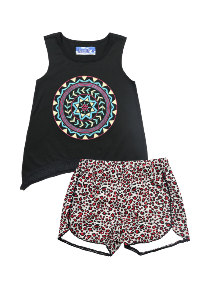 Embroidered Tank & Leopard Shorts