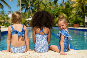 Cheetah Spot Off Shoulder Frill Swimsuit & Swim Shorts