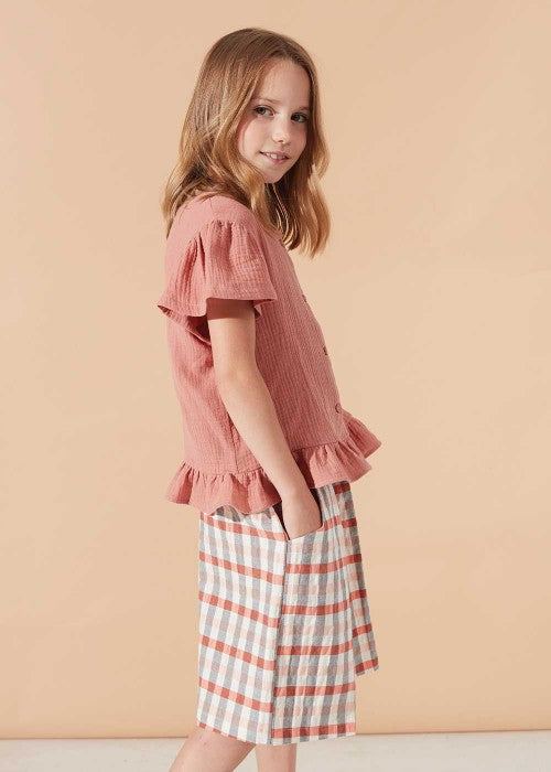Coral Buttoned Blouse & Mineral Baggy Shorts