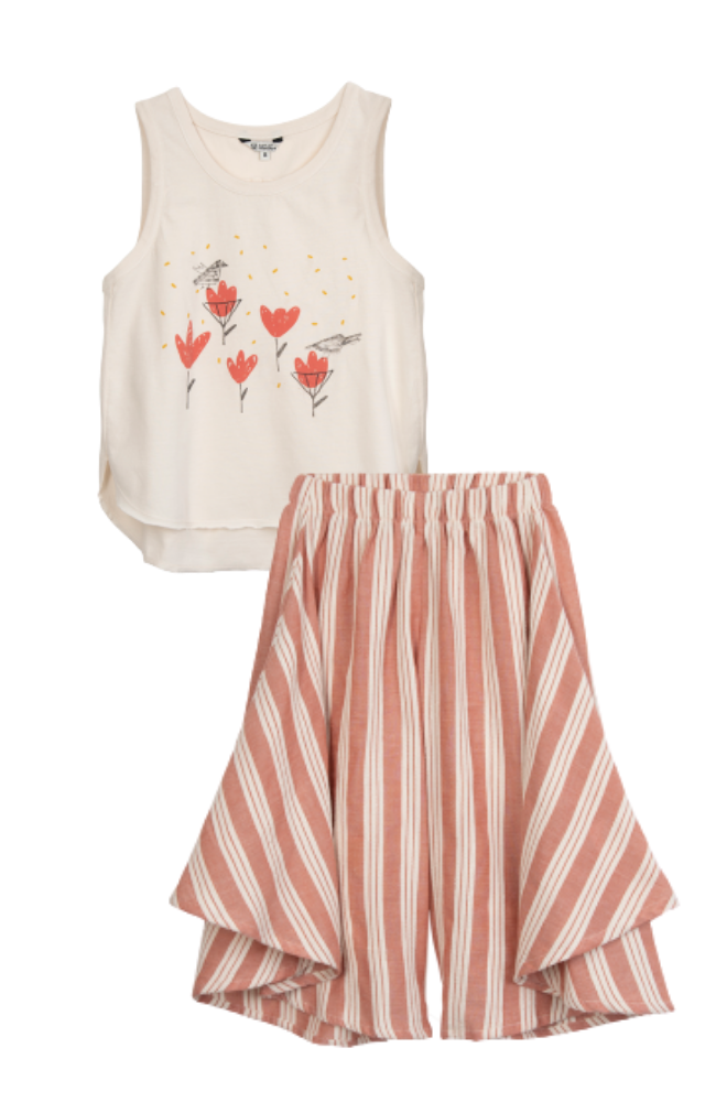 Flowers Tank Top & Striped Wide Leg Pants