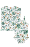 Leafy Swimsuit & Drawstring Cover Up
