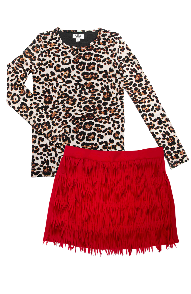 Leopard Mesh Top & Fringe Skirt