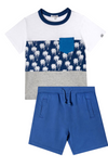 Palm Print Tee & Dylan Shorts in Blue