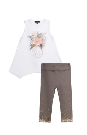 Pineapple Top & Gold Dust Leggings