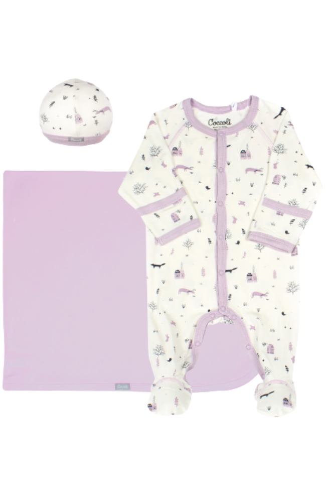 Purple Forest Layette Set