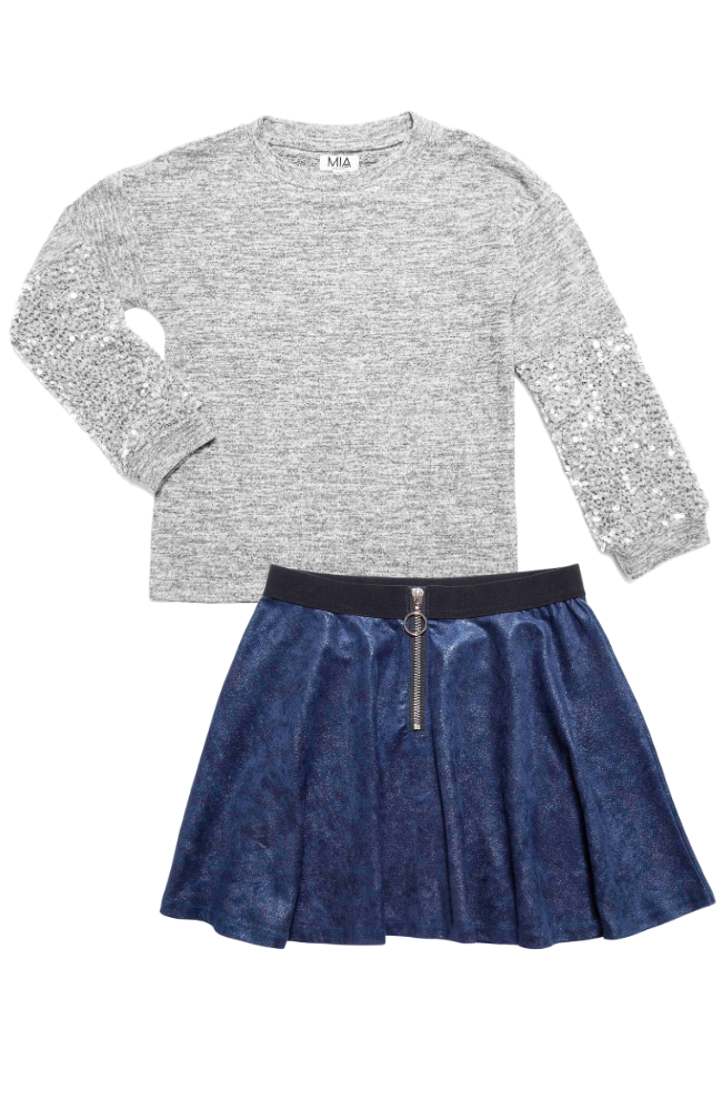 Sequin Sleeve Sweater & Skater Skirt