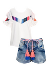 Rainbow Sequin Shorts Set