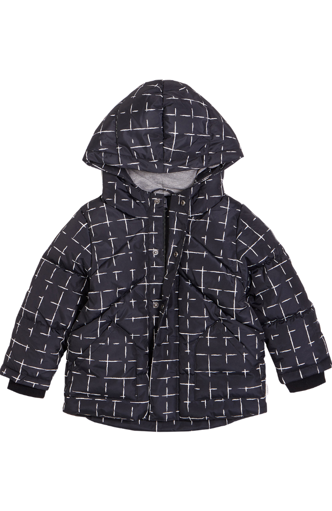 Black Geometric Tile Puffer Coat