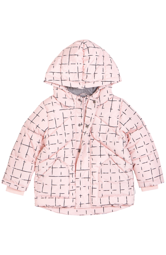 Pink Geometric Tile Puffer Coat
