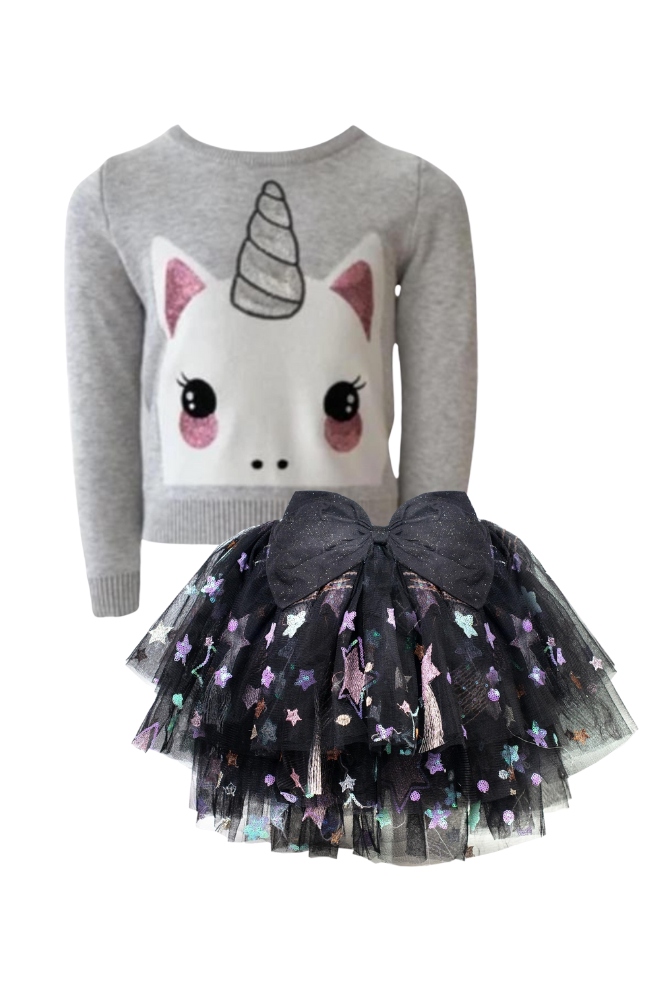 Uni-Kitty Sweater & Star Bow Tutu