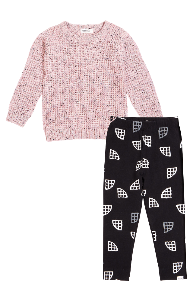 Waffle Knit Sweater & Waffle Abstract Leggings