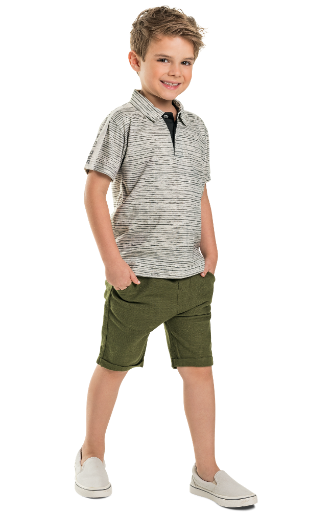 Stripe Polo Shirt & Woven Shorts