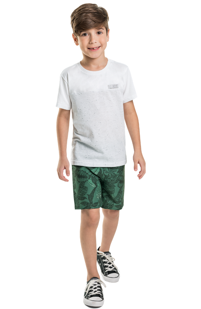 Wave Print Tee & Leafy Shorts