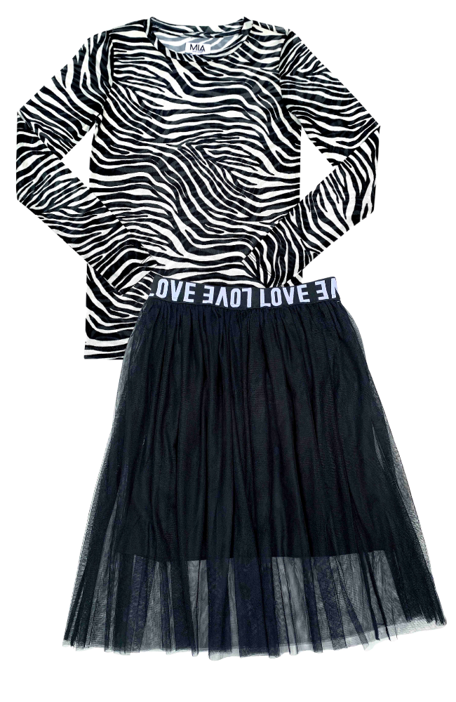 Zebra Mesh Top & Love Mesh Skirt
