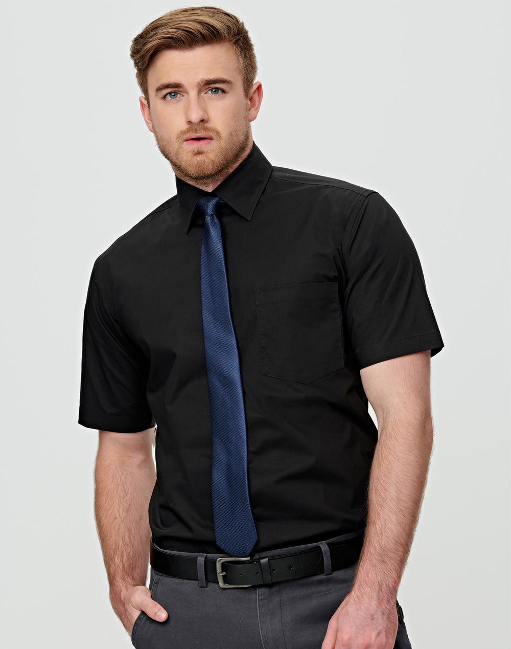 [M7020S] Men's Cotton/Poly Stretch S/S Shirt