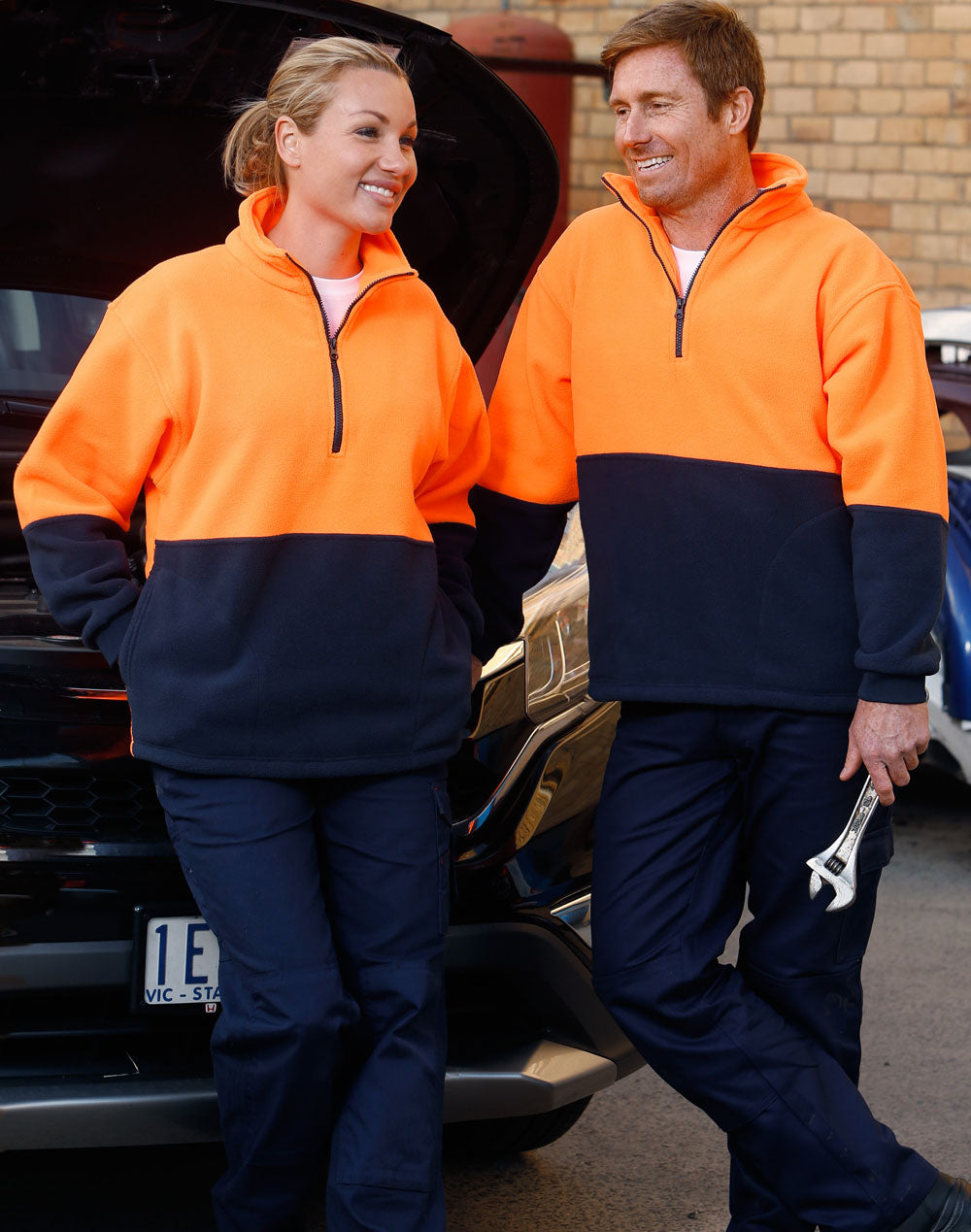 [SW07] Hi-Vis polar fleece half zip pullover