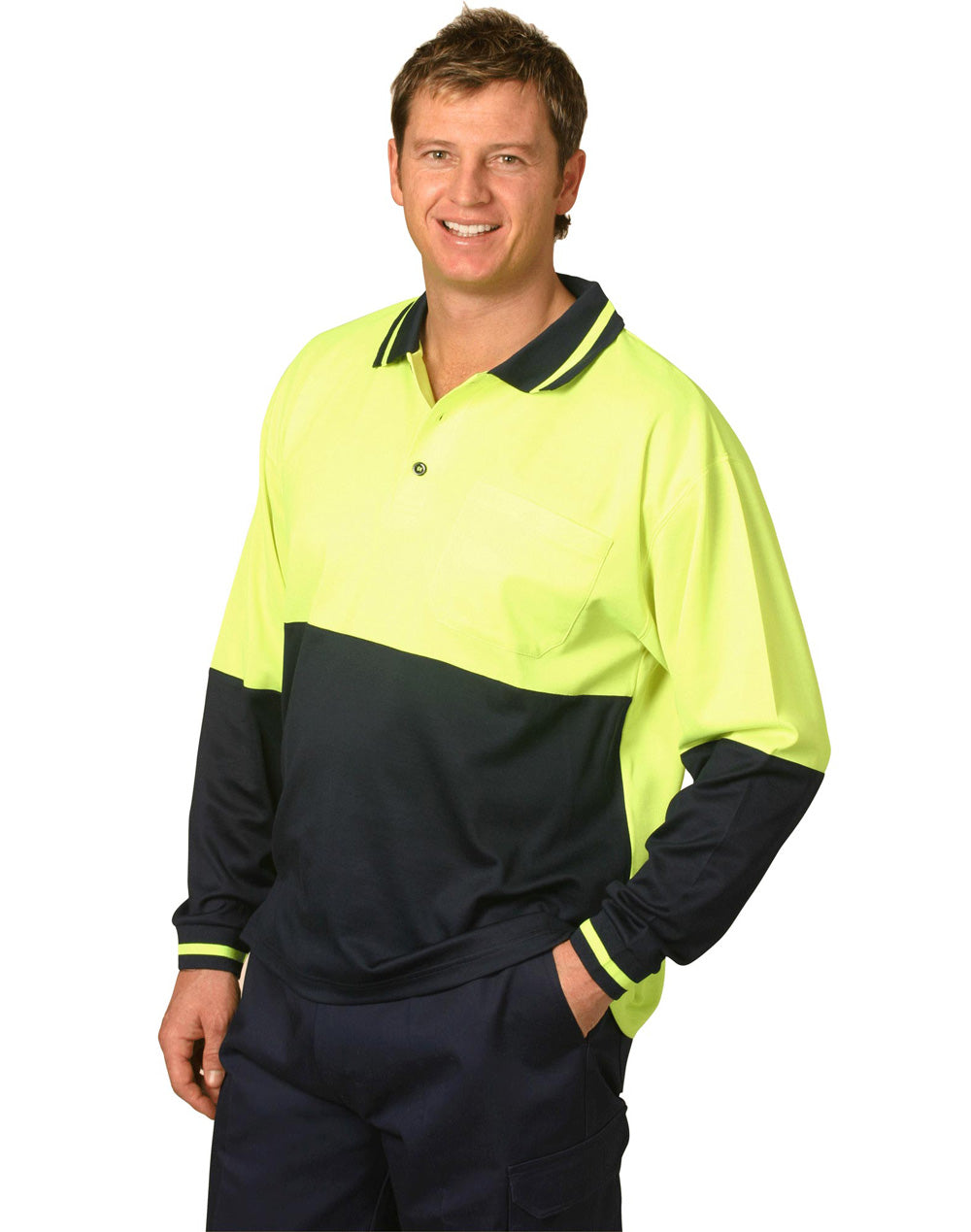 [SW11] Hi-Vis truedry safety polo L/S