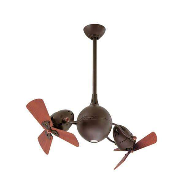 Indoor Fans Acqua Ceiling Fan - Textured Bronze/Wooden Blades Lighting Shops