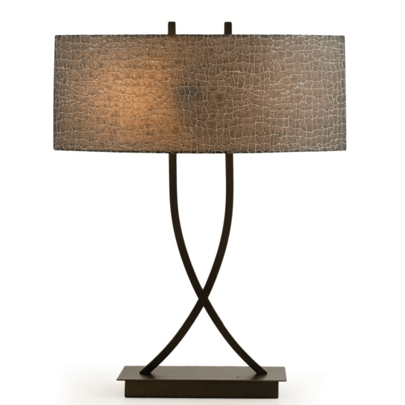 Bronze Crossover Curved Table Lamp