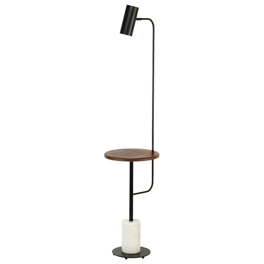 Floor Lamps Edison Black with Timber Tray & Marble Base Floor Lamp