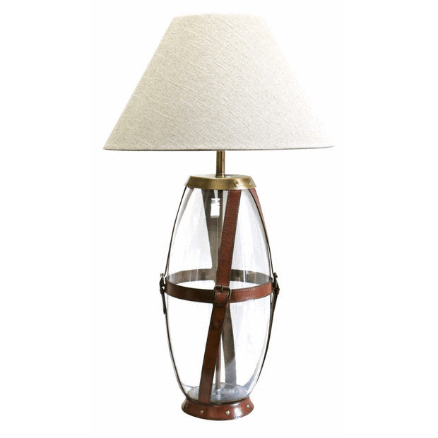 Table Lamps Glass Lamp with Leather Straps and Brass Buckles