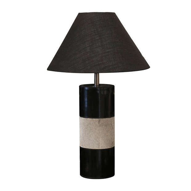 Table Lamps Leather Lamp in Black & Grey