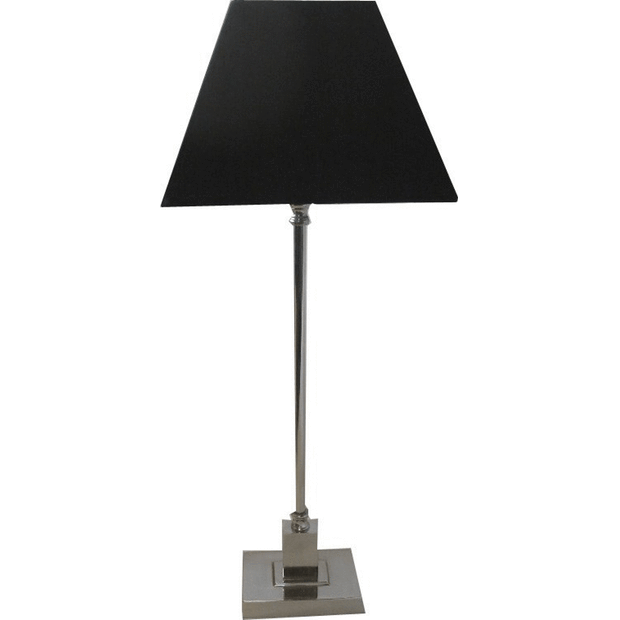 CLEARANCE Rectangle Base Table Lamp in Nickel Finish