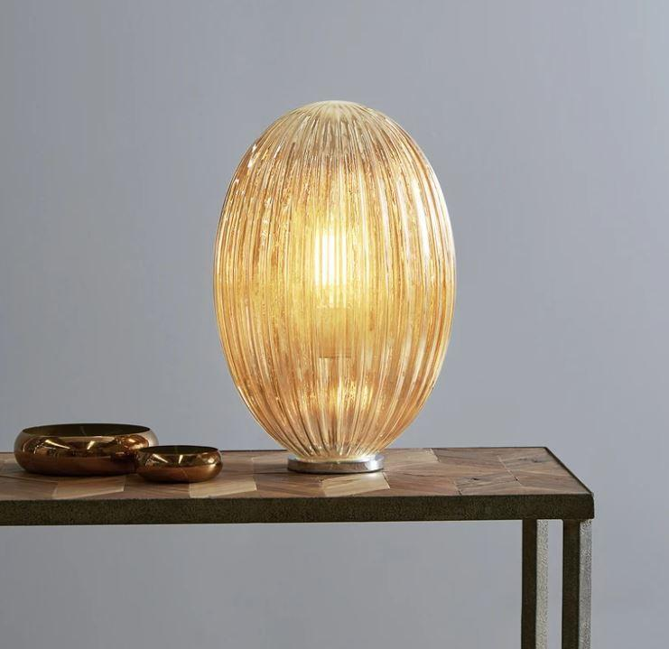 Table Lamps Ribbed Glass Pod Table Lamp - Champagne