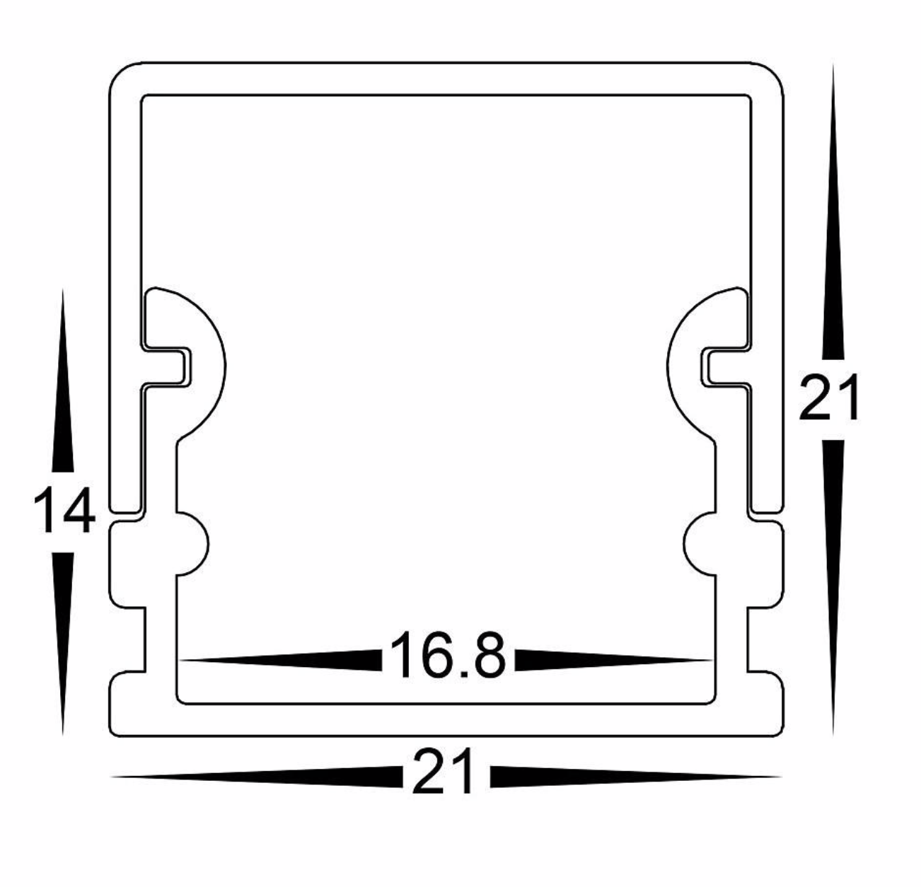 Profiles Surface Mounted Profile - Deep Square - HV9693-2114