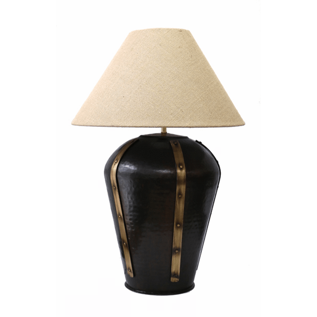 Table Lamps Urn Lamp In Dark Bronze with Studded Bands