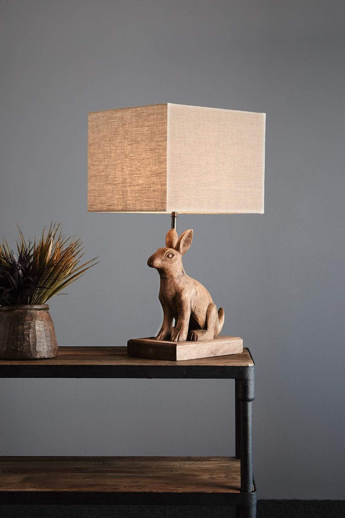 Table Lamps Wooden Rabbit Table Lamp