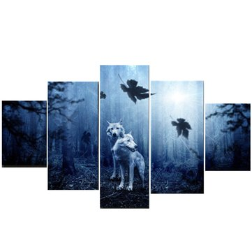 Five(5) Piece  Wolf Wall Painting Art Canvas Home Decor Prints Painting Picture Predator Forest Paintings