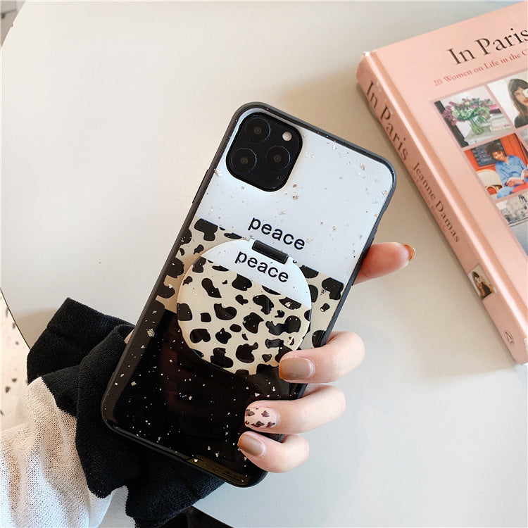 Mirror Holder 8plus Apple X Mobile Phone Case Cute 11pro Leopard Print Application