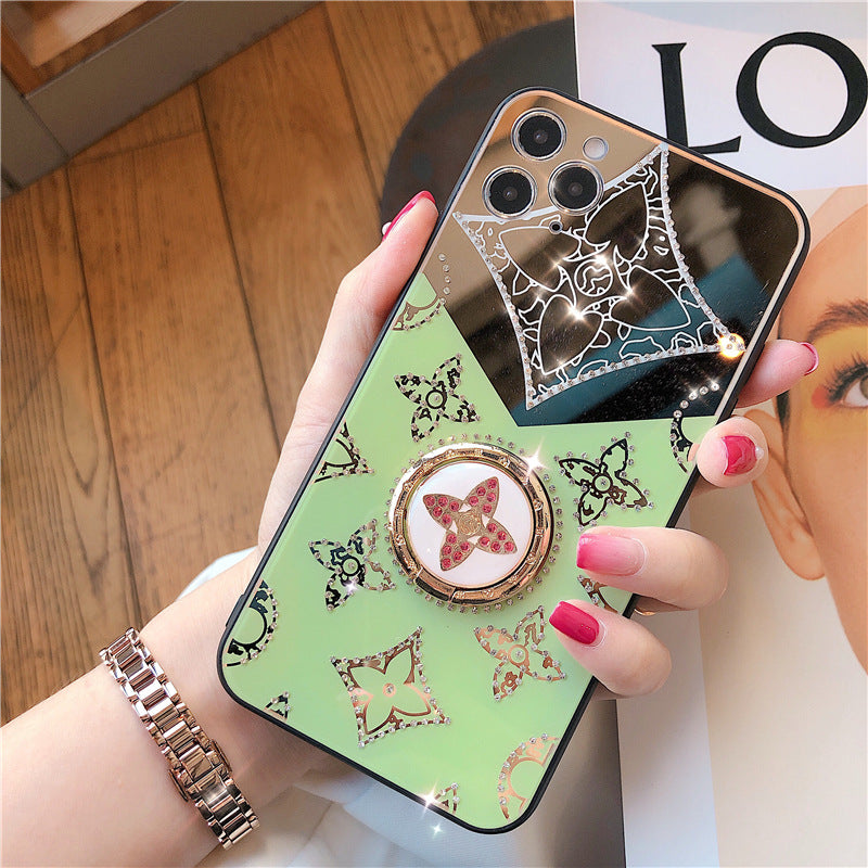 Suitable For Apple 12 Mobile Phone Case Iphonex Luxury Four-Leaf Clover Diamond Makeup Mirror Hard Shell XR Ring Bracket I8