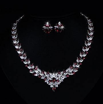 Flower Studded Zircon Diamond Necklace Set