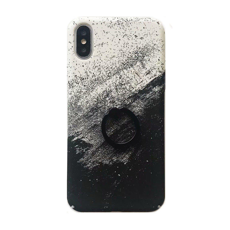 Literary illustration black classic starry moon water stick feel ring bracket for iphone phone shell