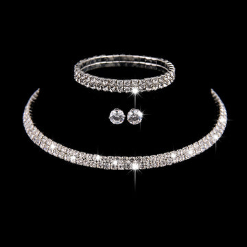 Zircon Diamond Studded Bridal Earrings And Necklace Set