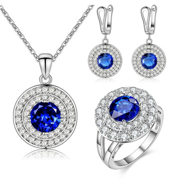 Three Piece Silver Electro-Plated Zircon Gemstone Jewelry Set
