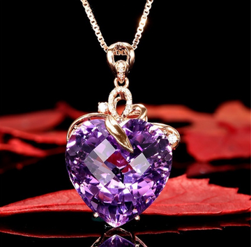 Anti-Bacterial Copper Heart-Shaped Amethyst Gemstone Pendant